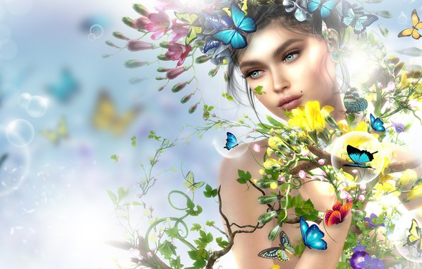 Картинка девушка, бабочки, цветы, весна, арт