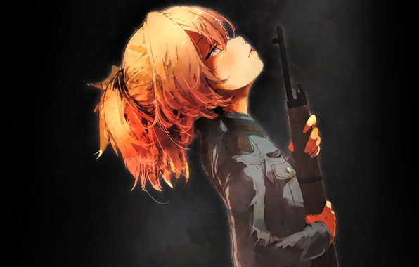 Картинка girl, gun, soldier, military, weapon, war, Germany, eyes, anime, sniper, blonde, asian, pose, rifle, manga, …