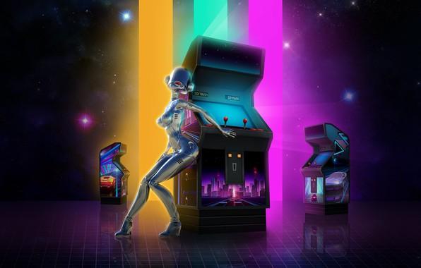 Картинка Музыка, Звезды, Игра, Робот, Неон, Фон, Electronic, Synthpop, Darkwave, Synth, Retrowave, Синти-поп, Синти, Synthwave, Synth …