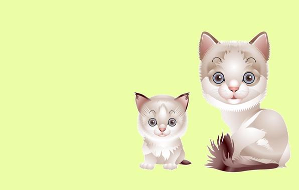 Картинка кошка, вектор, малыш, арт, котёнок, мама, детская