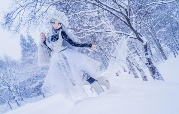 Картинка зима, снег, деревья, природа, зонтик, настроение, игрушка, кукла