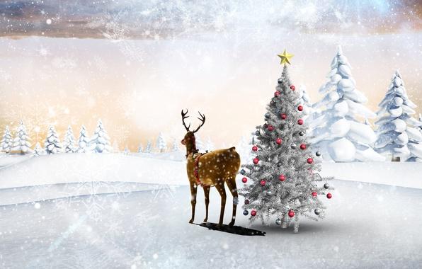 Картинка зима, лес, снег, деревья, снежинки, праздник, шары, поляна, игрушки, звезда, новый год, олень, сугробы, ёлка, …