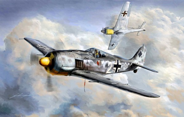 Картинка Germany, Luftwaffe, WW2, Fighter, Würger, Focke -Wulf, Fw.190A-8, JG54