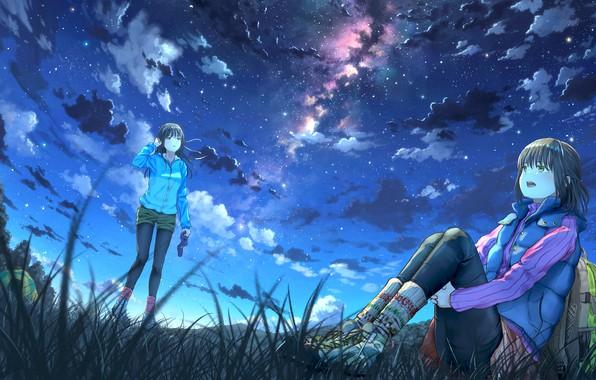 Картинка небо, ночь, девочки, арт, k ryo