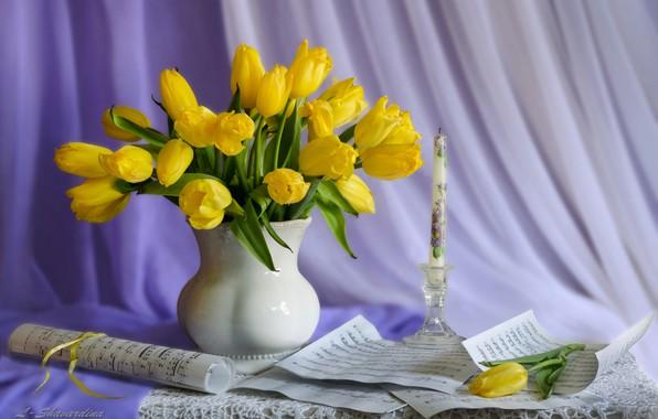 Картинка ноты, свеча, тюльпаны, натюрморт