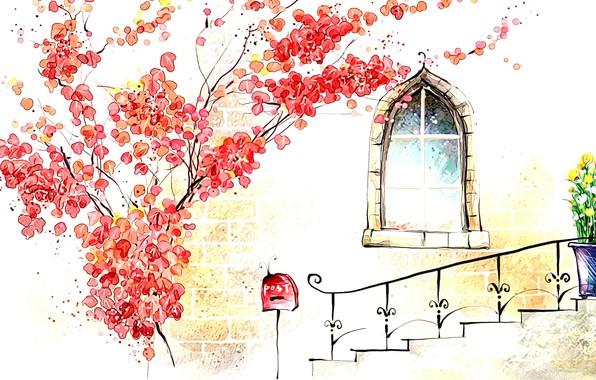 Картинка осень, рисунок, окно, арт, акварель, картинка, крыльцо, деревце
