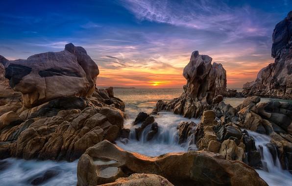Картинка закат, скалы, побережье