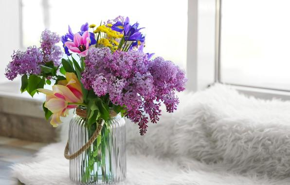 Картинка цветы, букет, ваза, flowers, сирень, spring, весенние, lilac