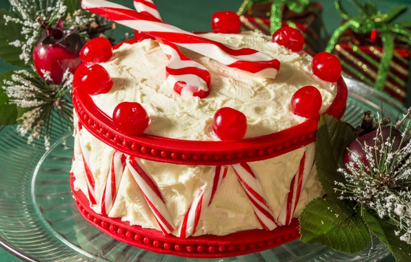 Картинка ягоды, торт, Новый год, украшение, Christmas, крем, десерт, сладкое, вкусно, New Year, декор, sweet, бисквит, …