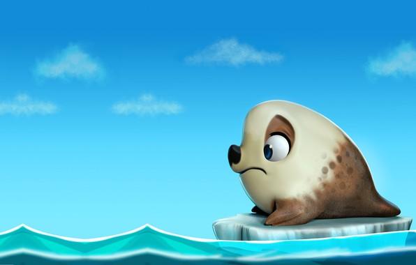 Картинка океан, тюлень, арт, льдина, детска, Seal, darlon ximenes