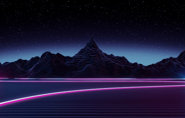 Картинка Небо, Горы, Ночь, Музыка, Звезды, Неон, Космос, Графика, Synthpop, Synth, Синти-поп, Синти