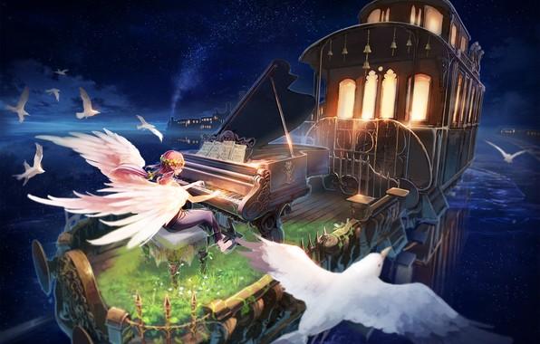 Картинка девушка, птицы, ангел, аниме, рояль, вагон