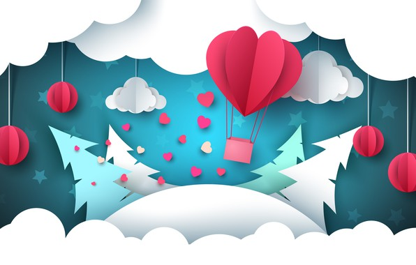 Картинка Рисунок, Деревья, Рендеринг, Ели, Облока, Воздушный Шар