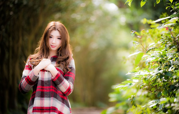 Картинка взгляд, девушка, волосы, азиатка, милашка, боке