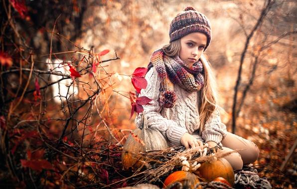 Картинка грусть, осень, девочка, Sergey Piltnik