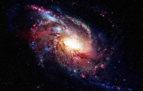 Картинка космос, звезды, свет, тьма, галактика