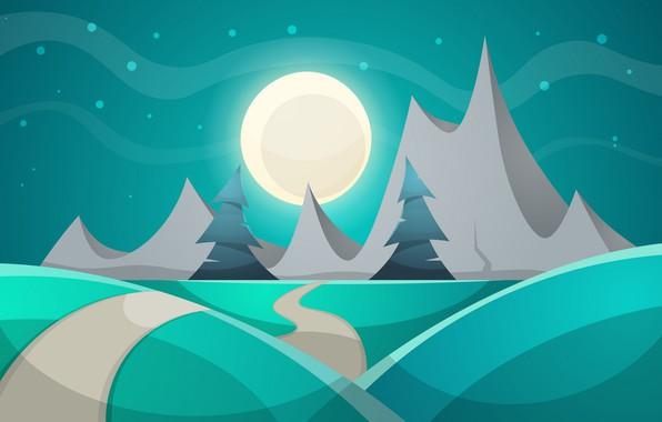 Фото обои Горы, Ночь, Рендеринг, Деревья