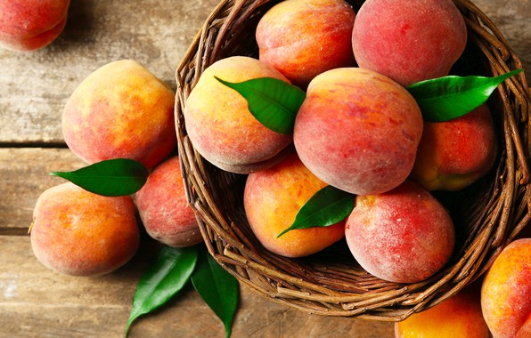 Картинка листья, корзина, фрукт, персики