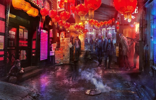 Картинка фонарики, Concept art, Inspired by Ghost In The Shell, Shanghai 2020
