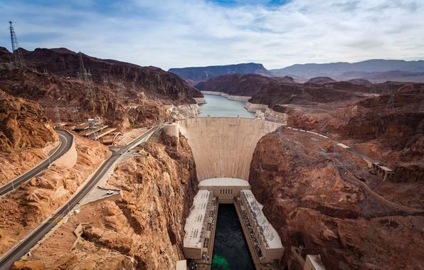 Картинка горы, река, плотина, Колорадо, каньон, панорама, Аризона, США, Невада, Гранд-Каньон, вид сверху, Hoover Dam, плотина …