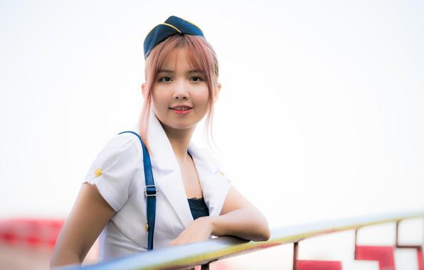 Картинка девушка, азиатка, милашка, униформа, боке, стюардесса