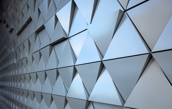 Фото обои triangle, steel, background, texture, design, abstract, wall, треугольник