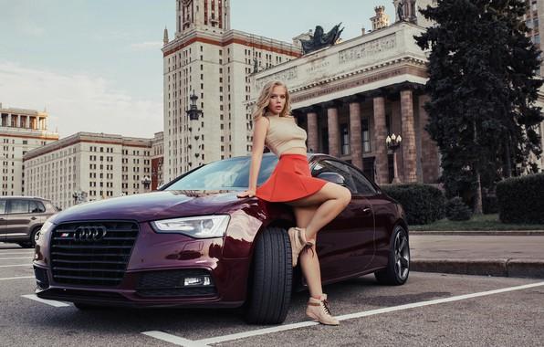 Картинка машина, авто, девушка, поза, Audi, модель, юбка, Москва, МГУ, Дмитрий Лобанов