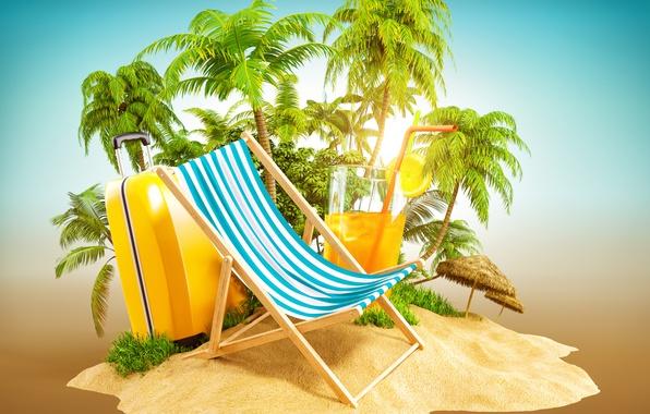 Картинка песок, тропики, пальмы, креатив, отдых, остров, коктейль, чемодан, лежак, 3D Графика
