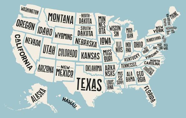Картинка USA, map, states
