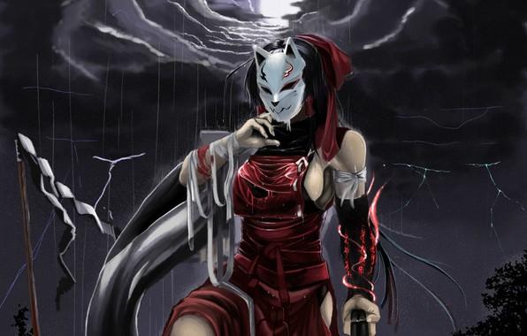 Картинка ночь, злость, молнии, кровь, маска, ливень, кулак, art, бинты, раны, рваная одежда, Hakurei Reimu, Touhou …