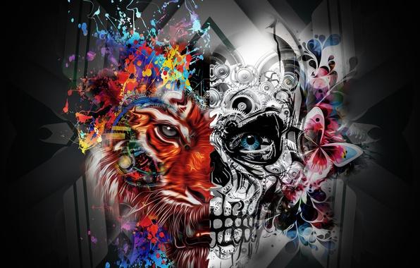 Картинка skull, Lion, half