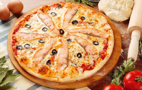 Картинка сыр, пицца, маслины, лосось