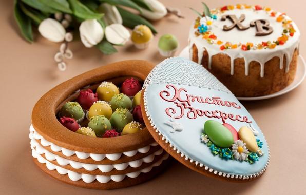 Картинка цветы, Пасха, десерт, кулич, верба, выпечка