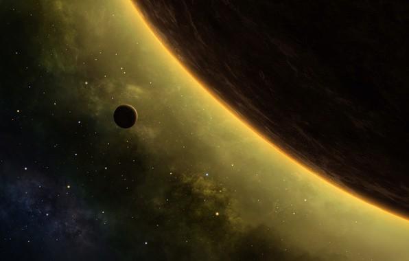 Картинка space, moon, Planet, nebula, stars, cosmos, galaxy, digital art, artwork