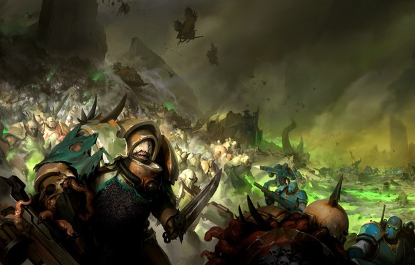 Картинка demon, chaos, Warhammer 40 000, Death Guard, plaque, Nurgle