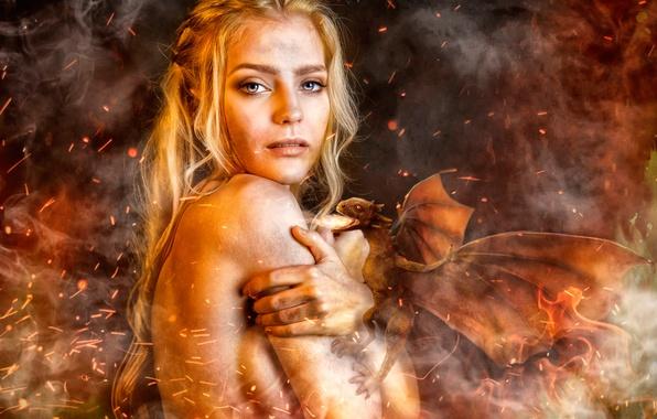 Картинка девушка, дракон, Игра Престолов, Daenerys Targaryen, Косплей, Евгения Марусова