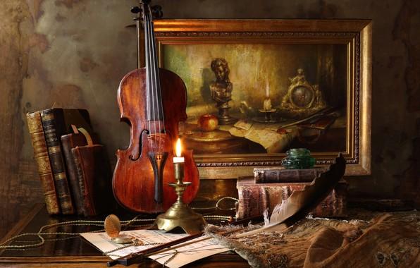 Картинка стиль, перо, скрипка, часы, книги, свеча, картина, натюрморт