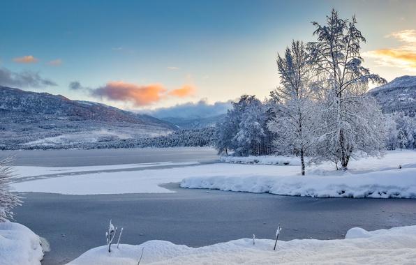 Картинка зима, снег, деревья, горы, озеро, Норвегия