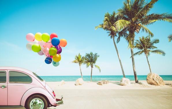 Картинка песок, море, волны, car, пляж, лето, небо, воздушные шары, пальмы, отдых, берег, colorful, summer, beach, ...