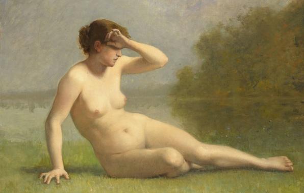 Картинка эротика, масло, картина, холст, Нимфа, L. Nicolas