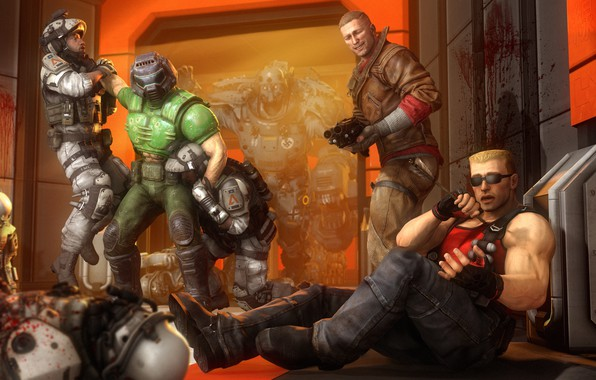 Картинка duke nukem, wolfenstein, doom, doomguy, terror billy, BJ Blazkowicz, william blazkowicz