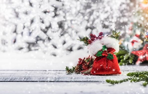 Картинка зима, снег, украшения, снежинки, елка, Новый Год, Рождество, happy, Christmas, wood, winter, snow, New Year, …