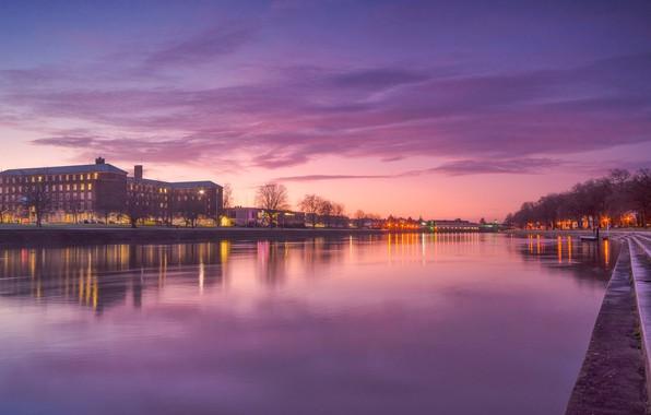 Картинка огни, река, Англия, дома, набережная, Ноттингем
