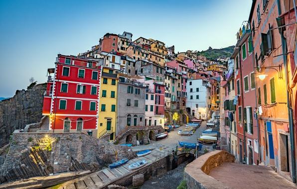 Картинка море, скалы, побережье, вилла, лодки, Италия, домики, Riomaggiore, travel