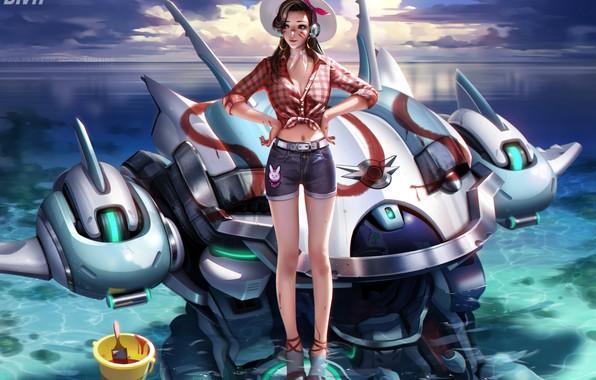 Картинка море, лето, небо, вода, девушка, облака, шорты, робот, рубашка, overwatch, D.Va, Hana Song, шляпо