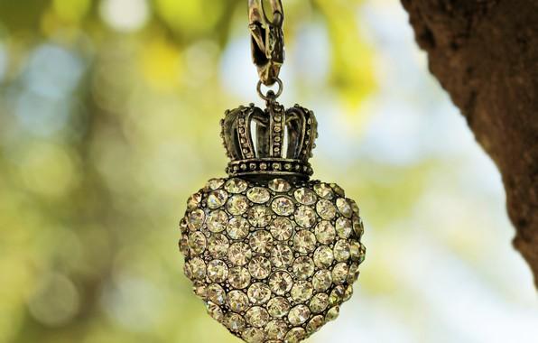 Картинка сердце, корона, украшение, брелок