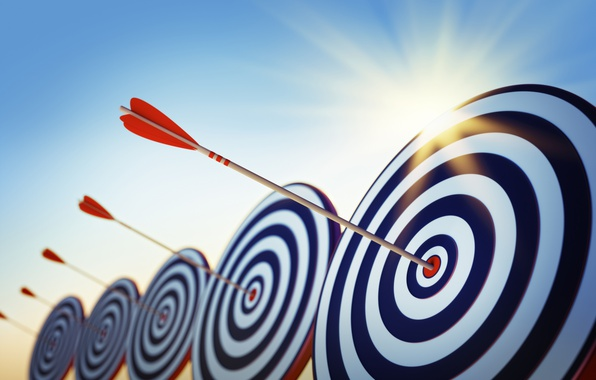 Фото обои стрела, абстракция 3d, наконечник боевой, wallpaper., arrows, мишень, хвостовик оперение, небо солнце красиво, цель, стрельбище, ...