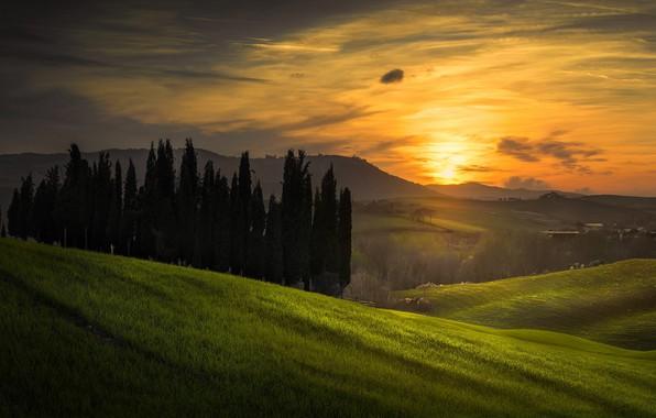 Картинка небо, закат, природа