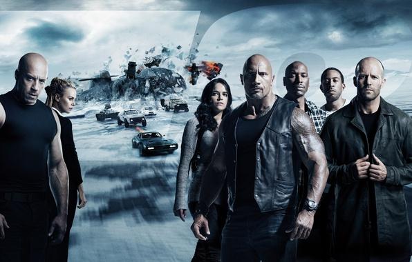 Картинка car, Charlize Theron, cinema, ice, movie, Vin Diesel, Jason Statham, Dwayne Johnson, Michelle Rodriguez, film, ...