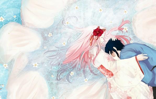 Картинка объятия, кимоно, в воде, розовые волосы, закрытые глаза, Sasuke Uchiha, Sakura Haruno, Naruto Shippuden, белые …